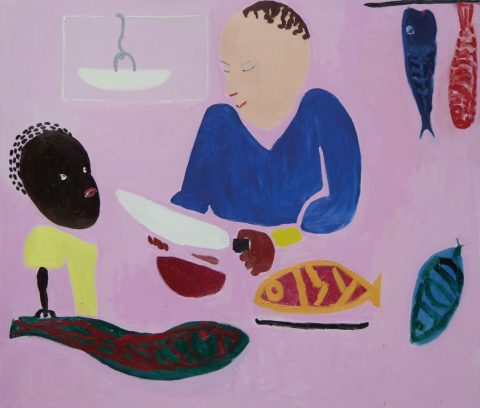 Chopping Fish – painting by Georgia Hayes
