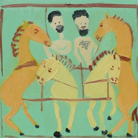 Calming the Horses with a Chariot 2 – painting by Georgia Hayes