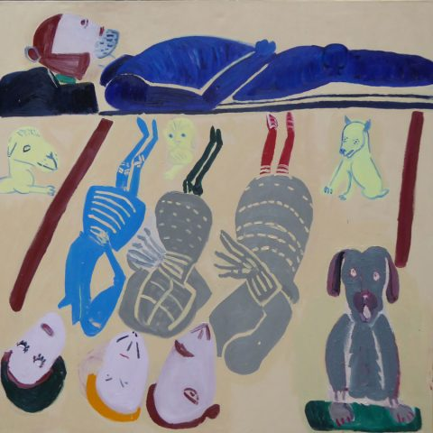 Lying with Dogs 1 – painting by Georgia Hayes