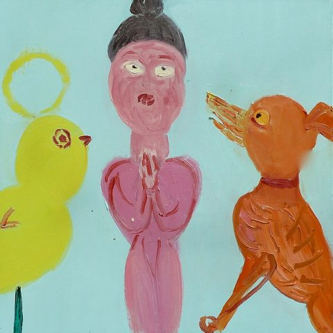 Meditating with a Dog – painting by Georgia Hayes