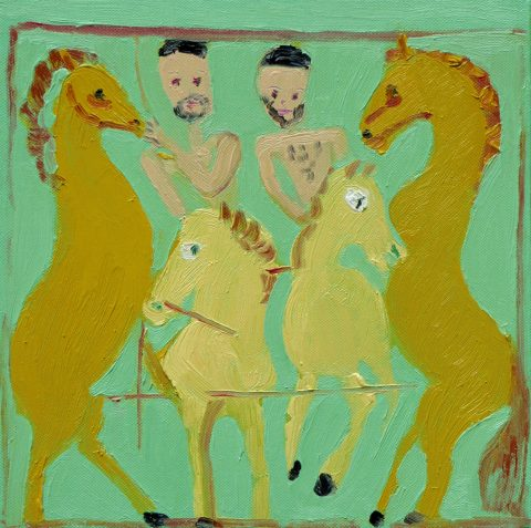 Calming the Horses with a Chariot 1 – painting by Georgia Hayes