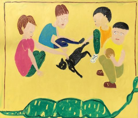 Circling the Cat 2 with Poor Snake – painting by Georgia Hayes
