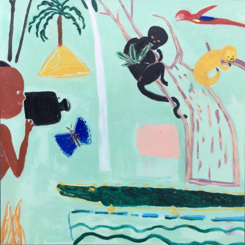 Filming in the Rain Forest – painting by Georgia Hayes