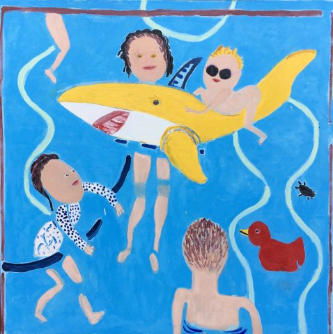In the pool with a Yellow Shark – painting by Georgia Hayes