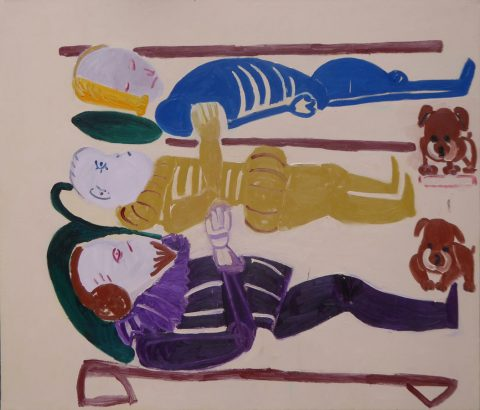Lying with Dogs 2 – painting by Georgia Hayes