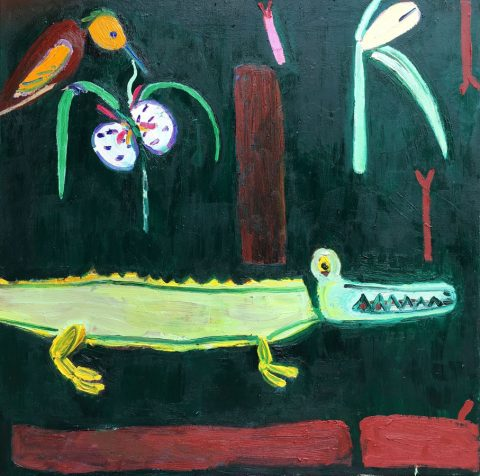 Rainforest with orchid and crocodile – painting by Georgia Hayes