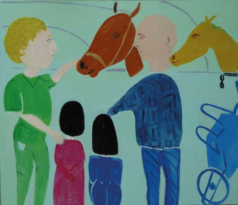 Stroking Horses in Ibiza – painting by Georgia Hayes