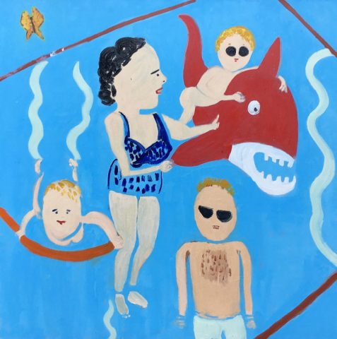 In the Pool with a Red Shark – painting by Georgia Hayes